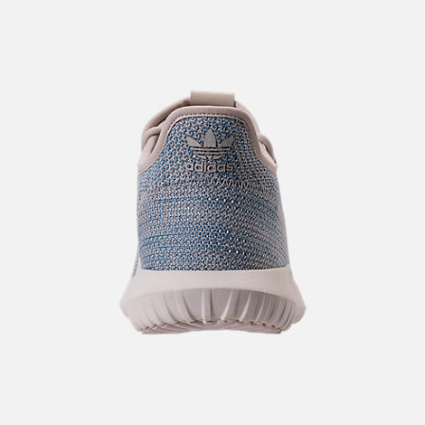 Back view of Men's adidas Originals Tubular Shadow Circular Knit Casual Shoes in Clear Brown/Light Blue/White