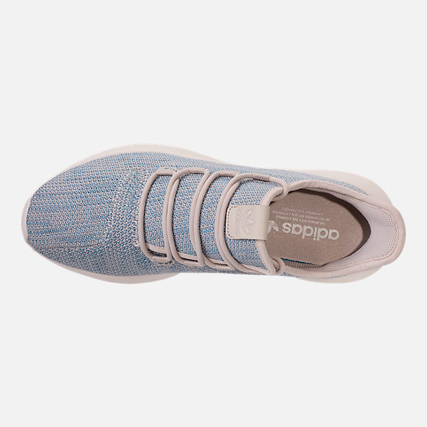 Top view of Men's adidas Originals Tubular Shadow Circular Knit Casual Shoes in Clear Brown/Light Blue/White