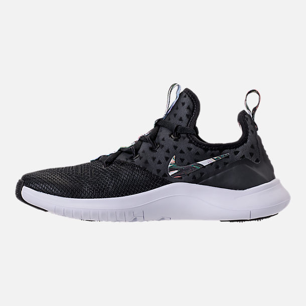 Left view of Women's Nike Free TR 8 Print Training Shoes in Black/White