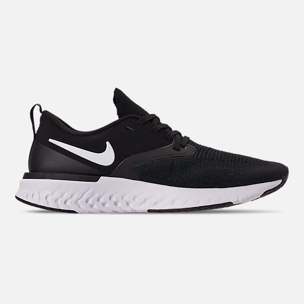 Right view of Women's Nike Odyssey React Flyknit 2 Running Shoes in Black/White