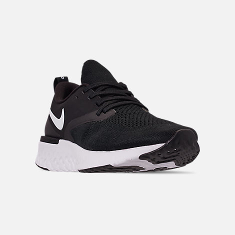 Three Quarter view of Women's Nike Odyssey React Flyknit 2 Running Shoes in Black/White