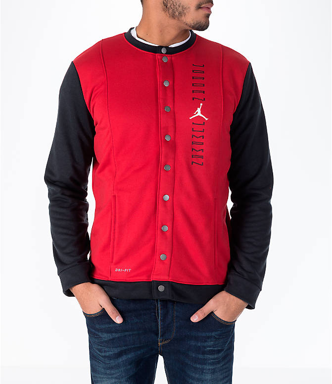 Front view of Men's Air Jordan 11 Basketball Jacket in Red