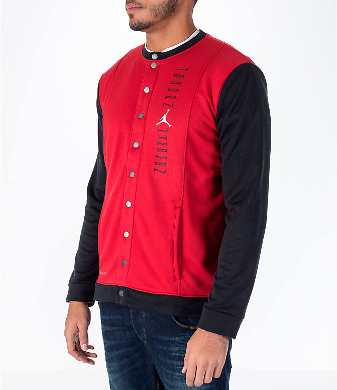 Front Three Quarter view of Men's Air Jordan 11 Basketball Jacket in Red