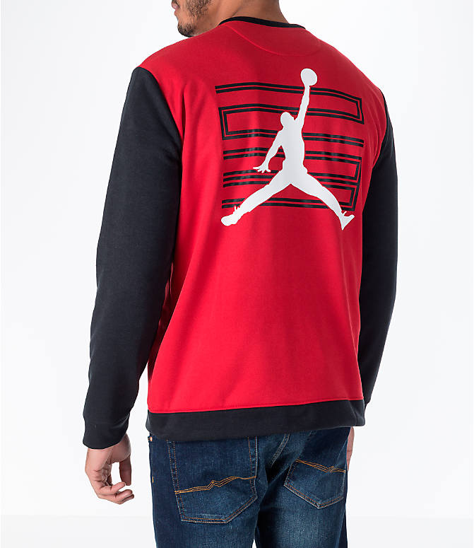 Back Left view of Men's Air Jordan 11 Basketball Jacket in Red
