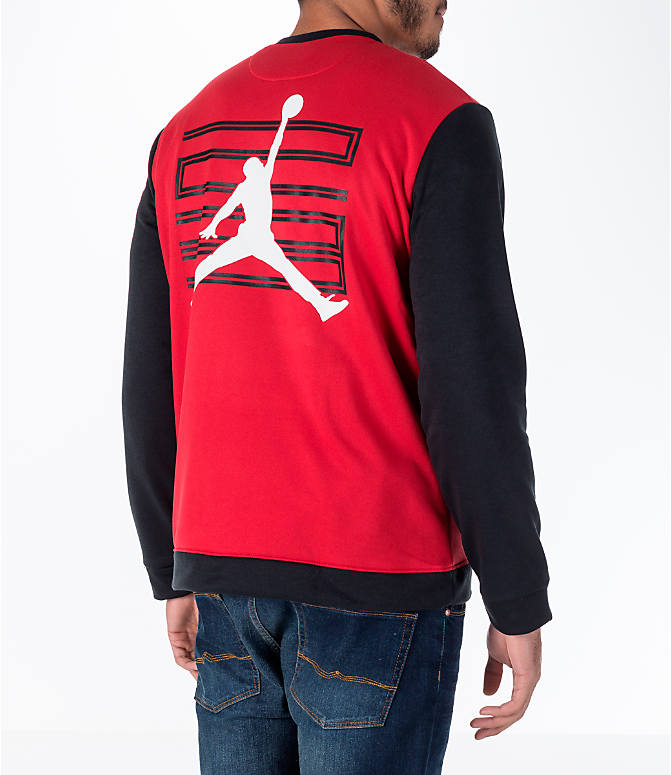 Back Right view of Men's Air Jordan 11 Basketball Jacket in Red