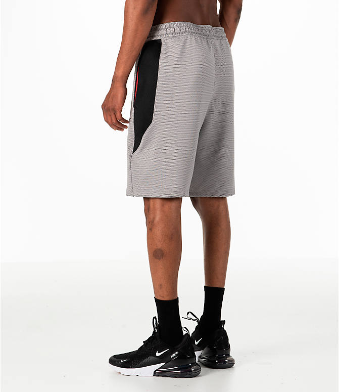 Back Left view of Men's Nike Therma Flex Showtime Basketball Shorts in Atmosphere Grey/Black