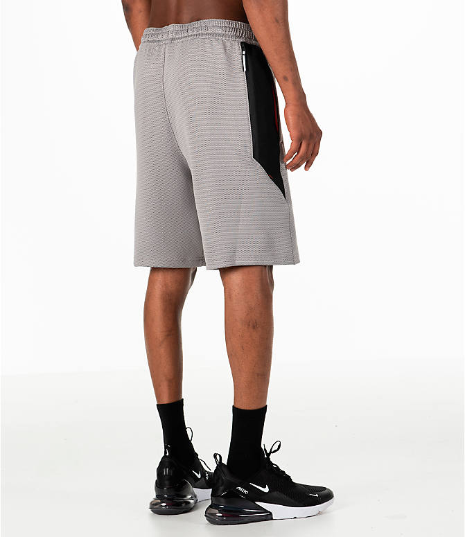 Back Right view of Men's Nike Therma Flex Showtime Basketball Shorts in Atmosphere Grey/Black