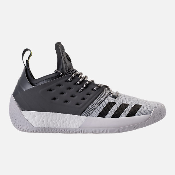 Right view of Men's adidas Harden Vol.2 Basketball Shoes in Silver/Black