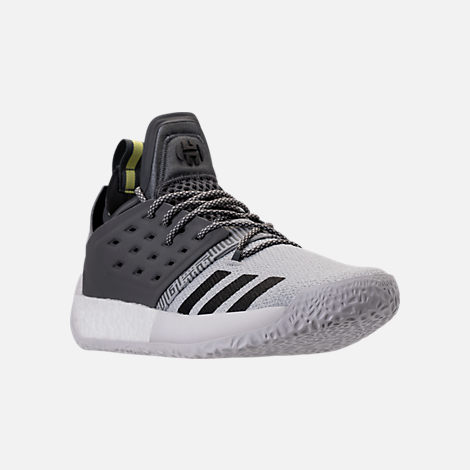 Three Quarter view of Men's adidas Harden Vol.2 Basketball Shoes in Silver/Black