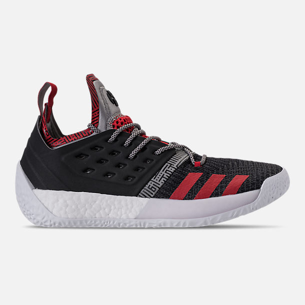 Right view of Men's adidas Harden Vol.2 Basketball Shoes in Black/Scarlet