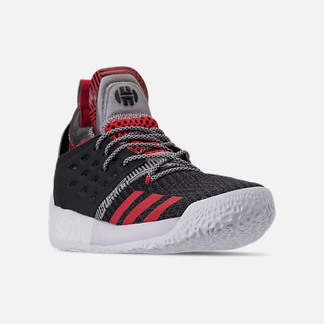 Three Quarter view of Men's adidas Harden Vol.2 Basketball Shoes in Black/Scarlet
