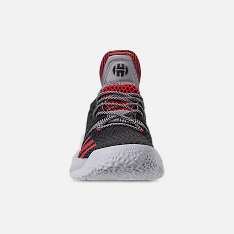 Front view of Men's adidas Harden Vol.2 Basketball Shoes in Black/Scarlet