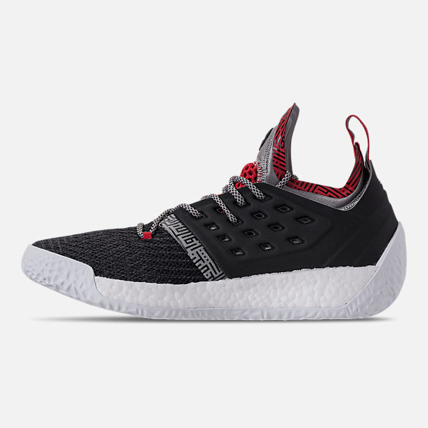 Left view of Men's adidas Harden Vol.2 Basketball Shoes in Black/Scarlet
