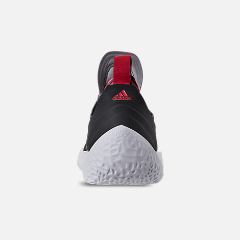Back view of Men's adidas Harden Vol.2 Basketball Shoes in Black/Scarlet