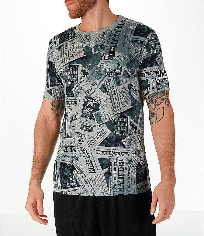 Front view of Men's Nike Dry Kyrie Newspaper T-Shirt in Dark Grey Heather