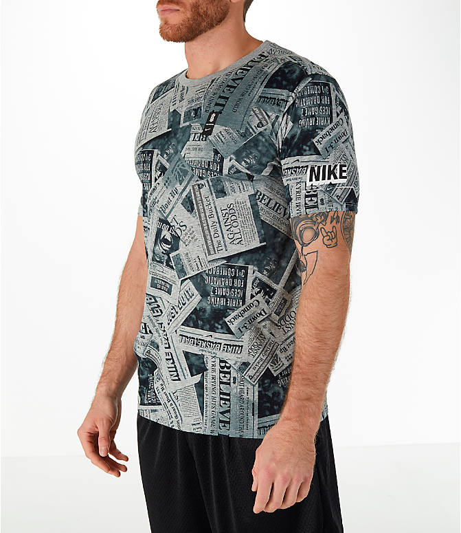 Front Three Quarter view of Men's Nike Dry Kyrie Newspaper T-Shirt in Dark Grey Heather