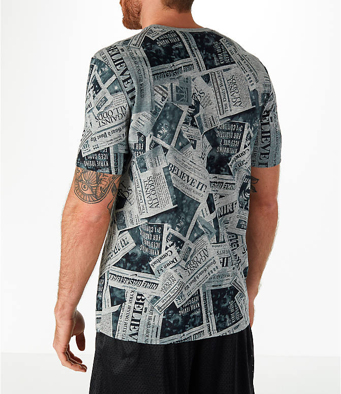 Back Left view of Men's Nike Dry Kyrie Newspaper T-Shirt in Dark Grey Heather