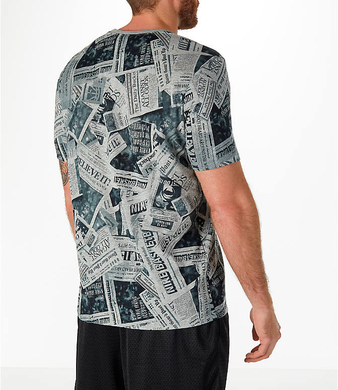 Back Right view of Men's Nike Dry Kyrie Newspaper T-Shirt in Dark Grey Heather