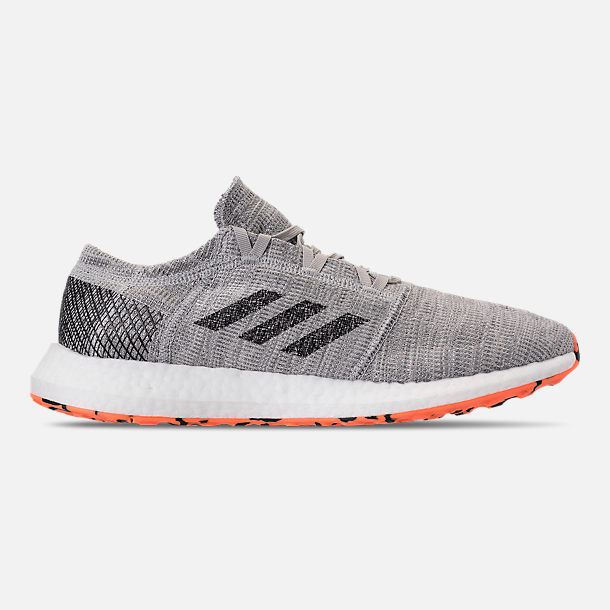 Right view of Men's adidas PureBOOST GO Running Shoes in Grey/Hi-Res Orange/Core Black