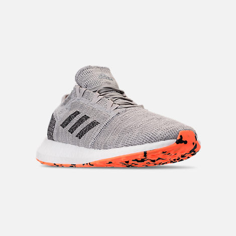 Three Quarter view of Men's adidas PureBOOST GO Running Shoes in Grey/Hi-Res Orange/Core Black