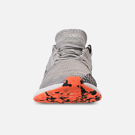 Front view of Men's adidas PureBOOST GO Running Shoes in Grey/Hi-Res Orange/Core Black