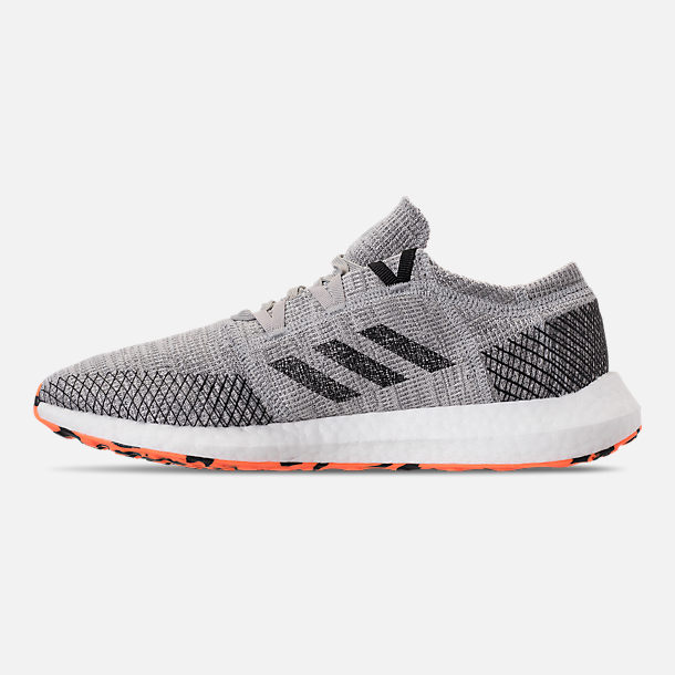 Left view of Men's adidas PureBOOST GO Running Shoes in Grey/Hi-Res Orange/Core Black
