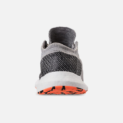 Back view of Men's adidas PureBOOST GO Running Shoes in Grey/Hi-Res Orange/Core Black