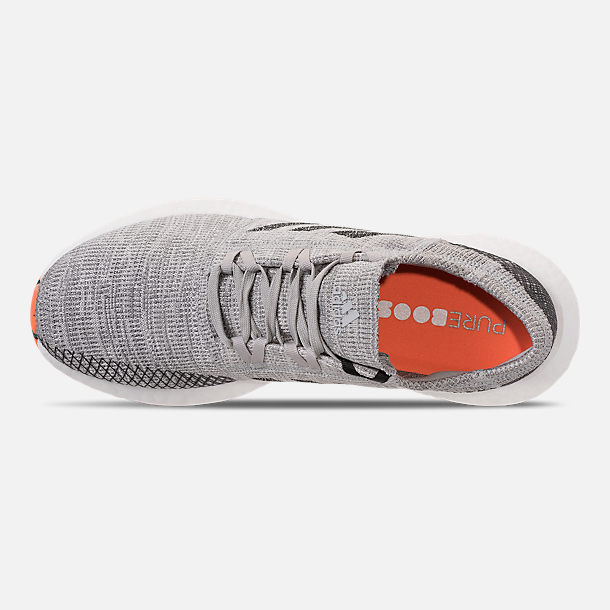 Top view of Men's adidas PureBOOST GO Running Shoes in Grey/Hi-Res Orange/Core Black