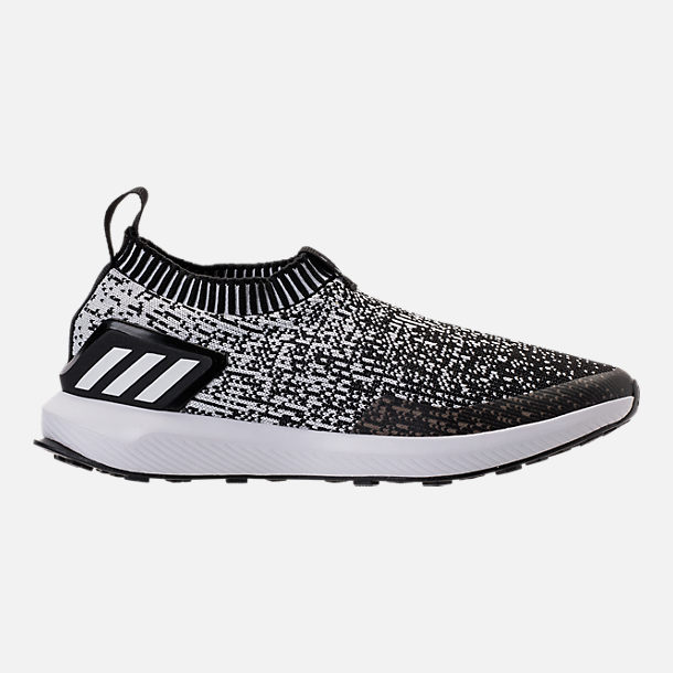 Right view of Boys' Big Kids' adidas RapidaRun Laceless Running Shoes in Core Black/Footwear White
