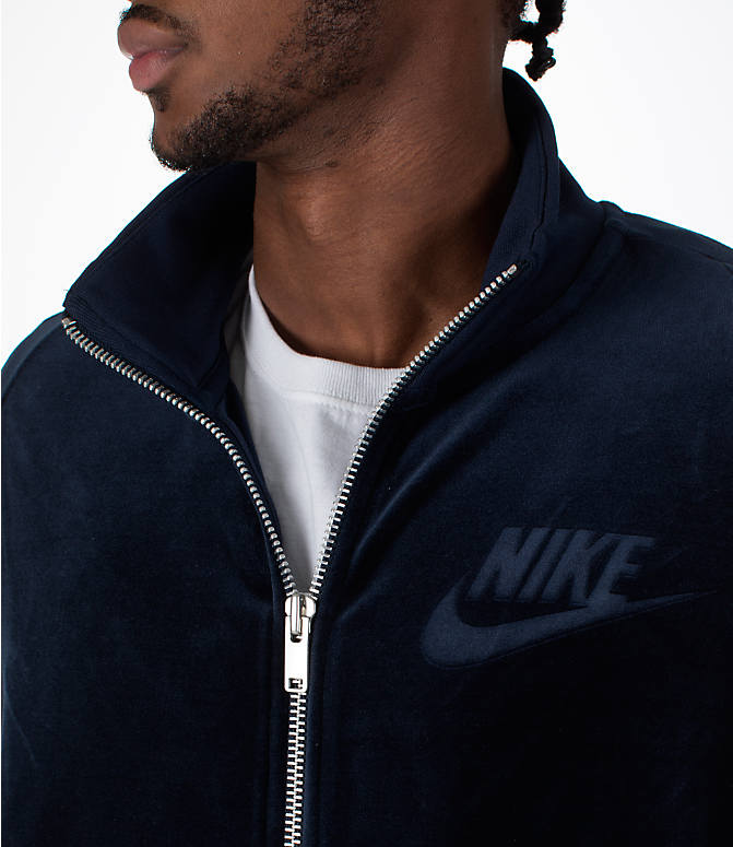Detail 1 view of Men's Nike Sportswear Velour Track Jacket in Obsidian