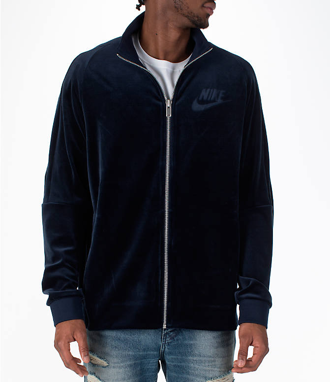 Front view of Men's Nike Sportswear Velour Track Jacket in Obsidian