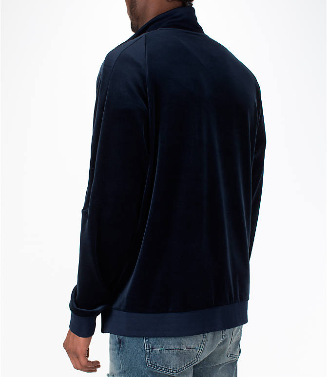 Back Left view of Men's Nike Sportswear Velour Track Jacket in Obsidian