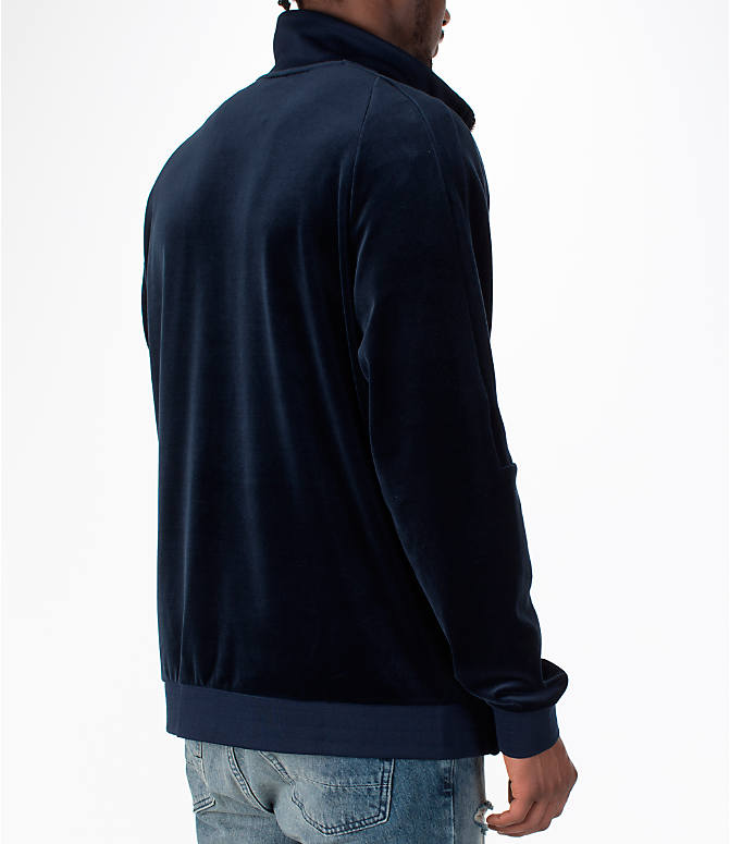 Back Right view of Men's Nike Sportswear Velour Track Jacket in Obsidian