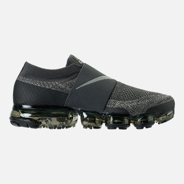 Right view of Men's Nike Air VaporMax Flyknit MOC Running Shoes in Midnight Fog/Dark Stucco/Legion Green