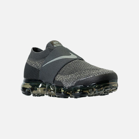 Three Quarter view of Men's Nike Air VaporMax Flyknit MOC Running Shoes in Midnight Fog/Dark Stucco/Legion Green