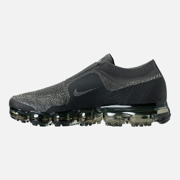 Left view of Men's Nike Air VaporMax Flyknit MOC Running Shoes in Midnight Fog/Dark Stucco/Legion Green