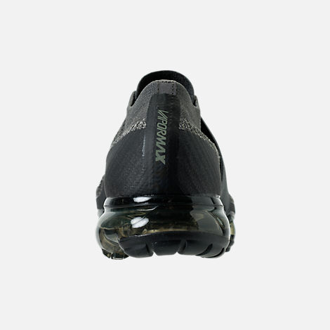 Back view of Men's Nike Air VaporMax Flyknit MOC Running Shoes in Midnight Fog/Dark Stucco/Legion Green