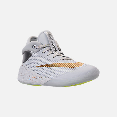 Three Quarter view of Big Kids' Nike Future Flight Basketball Shoes in Pure Platinum/Metallic Gold/Chrome