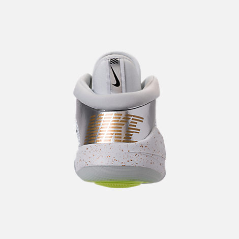 Back view of Big Kids' Nike Future Flight Basketball Shoes in Pure Platinum/Metallic Gold/Chrome