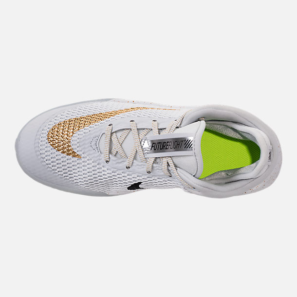 Top view of Kids' Grade School Nike Future Flight Basketball Shoes in Pure Platinum/Metallic Gold/Chrome