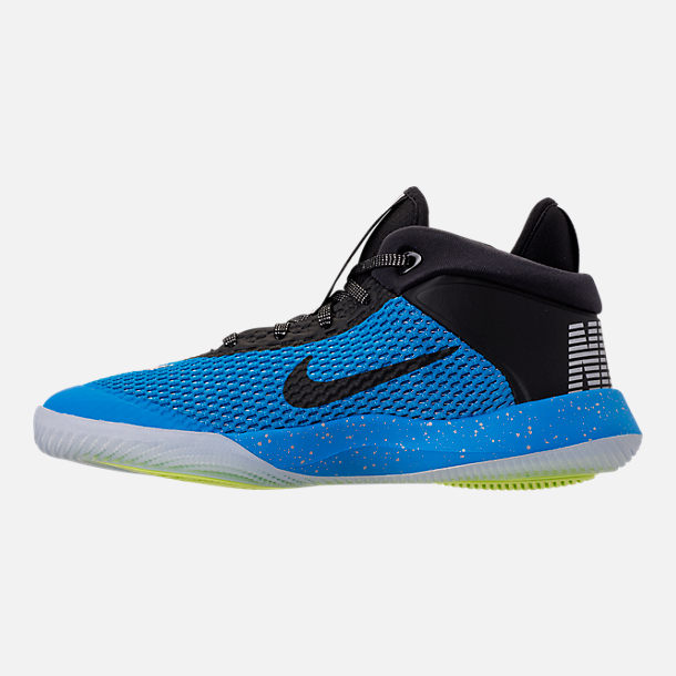 Left view of Big Kids' Nike Future Flight Basketball Shoes in Blue Hero/Chrome/Black/Bright Crimson
