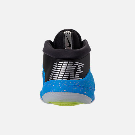 Back view of Big Kids' Nike Future Flight Basketball Shoes in Blue Hero/Chrome/Black/Bright Crimson