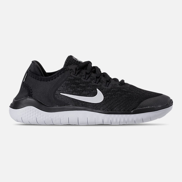 Right view of Boys' Grade School Nike Free RN 2018 Running Shoes in Black/White