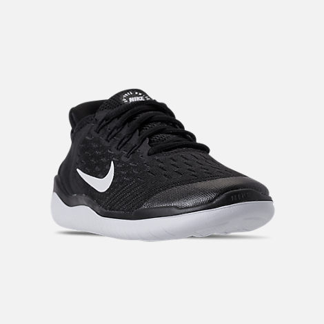 Three Quarter view of Boys' Big Kids' Nike Free RN 2018 Running Shoes in Black/White