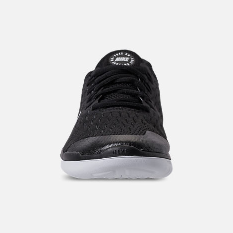 Front view of Boys' Grade School Nike Free RN 2018 Running Shoes in Black/White