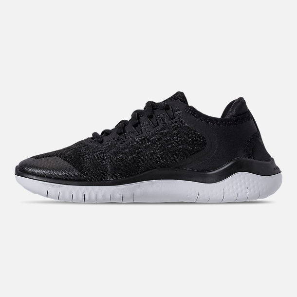 Left view of Boys' Grade School Nike Free RN 2018 Running Shoes in Black/White