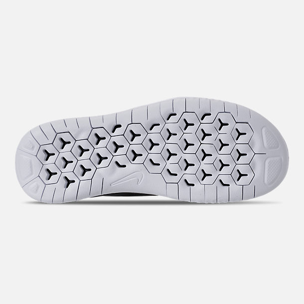 Bottom view of Boys' Grade School Nike Free RN 2018 Running Shoes in Black/White