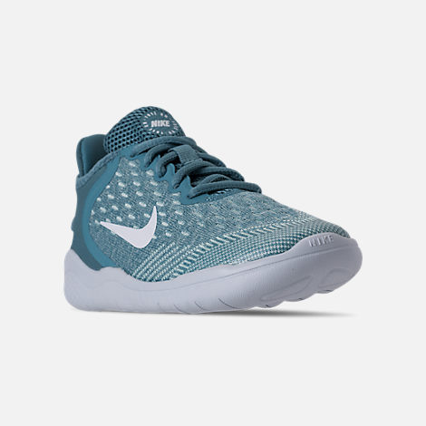 Three Quarter view of Girls' Preschool Nike Free RN 2018 Running Shoes in Noise/Aqua/White/Igloo/Pure Platinum