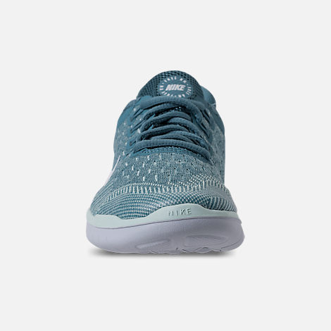 Front view of Girls' Grade School Nike Free RN 2018 Running Shoes in Noise Aqua/White/Igloo/Pure Platinum