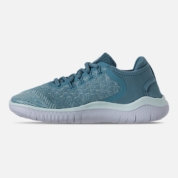 Left view of Girls' Grade School Nike Free RN 2018 Running Shoes in Noise Aqua/White/Igloo/Pure Platinum
